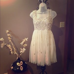 Dress, homecoming, wedding, pearls sequins